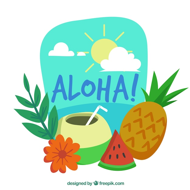 Aloha background with exotic drink and\ fruit