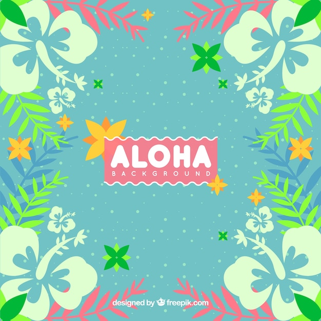 Aloha background with flowers and leaves in\ vintage style
