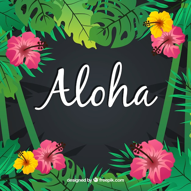 Aloha background with flowers and leaves