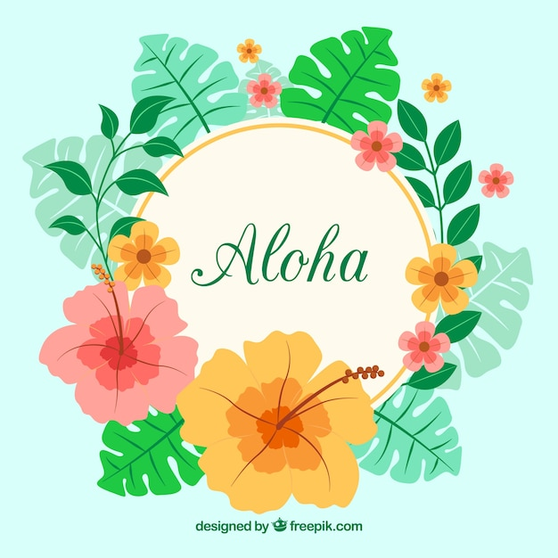 aloha background with flowers and tropical leaves vector