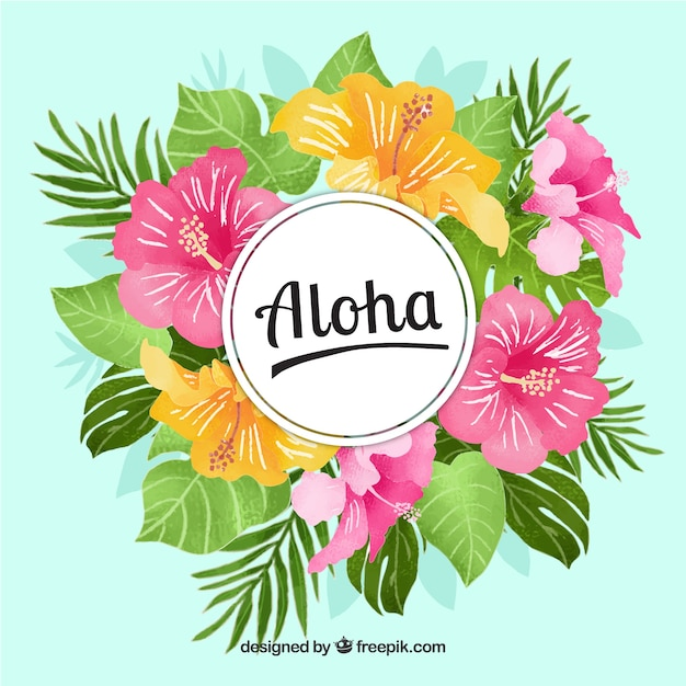 Aloha background with flowers and watercolor\ leaves