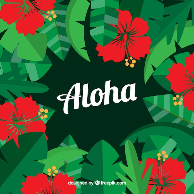 Aloha background with red flowers and\ leaves