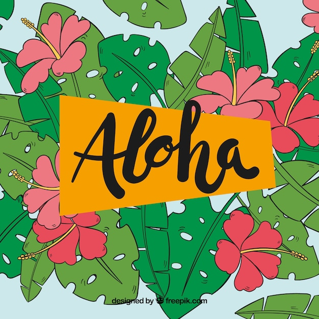 Free Vector | Aloha background with tropical vegetation