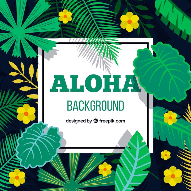 Aloha background with yellow flowers and\ leaves