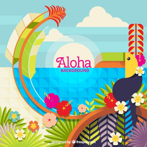 Aloha colorful landscape background in flat design