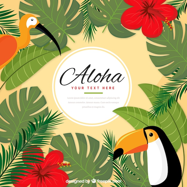 Aloha exotic birds background
