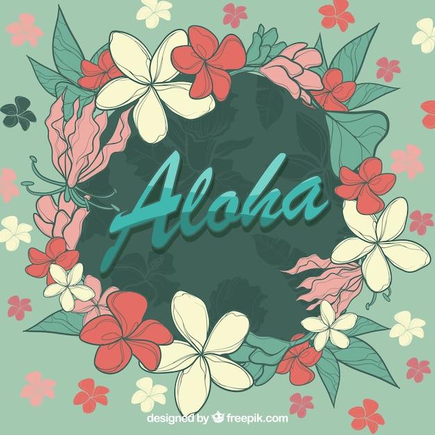 Aloha flowers circle background