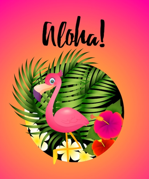 Aloha lettering with tropical plants and flamingo in circle Free Vector