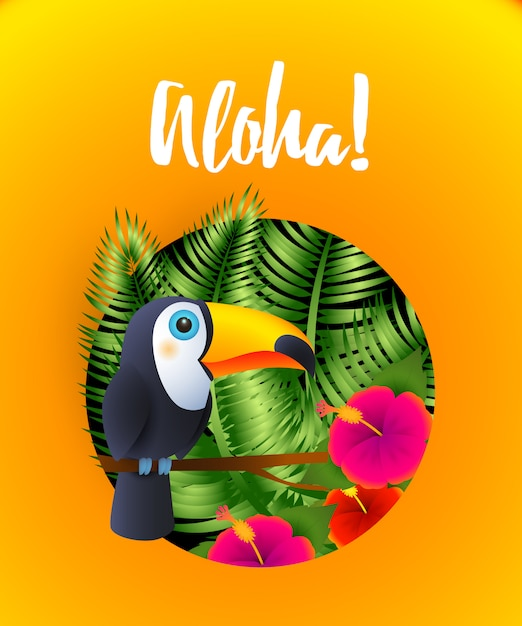 Aloha lettering with tropical plants and toucan in circle Free Vector