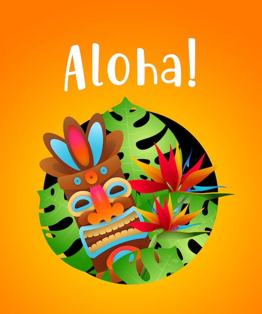 Aloha lettering with tropical plants and tribal mask in circle Free Vector