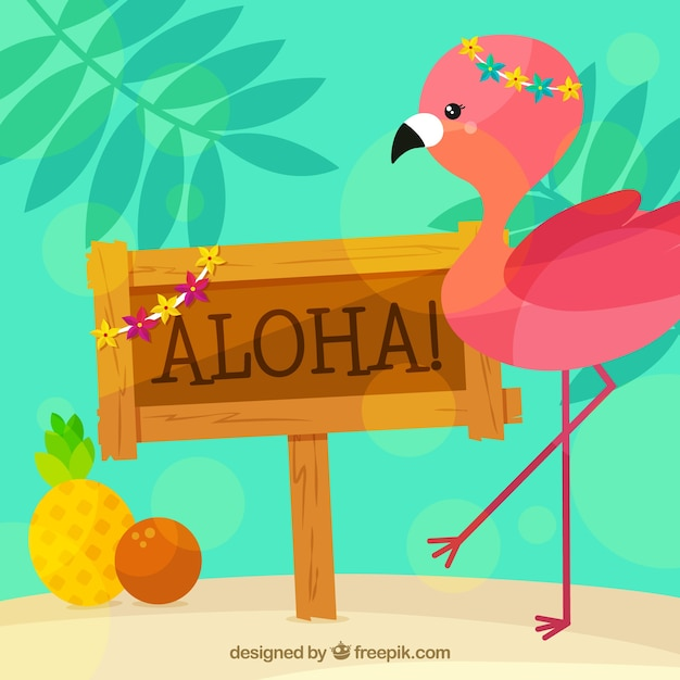 aloha poster background with pretty flamingo vector free download. Black Bedroom Furniture Sets. Home Design Ideas