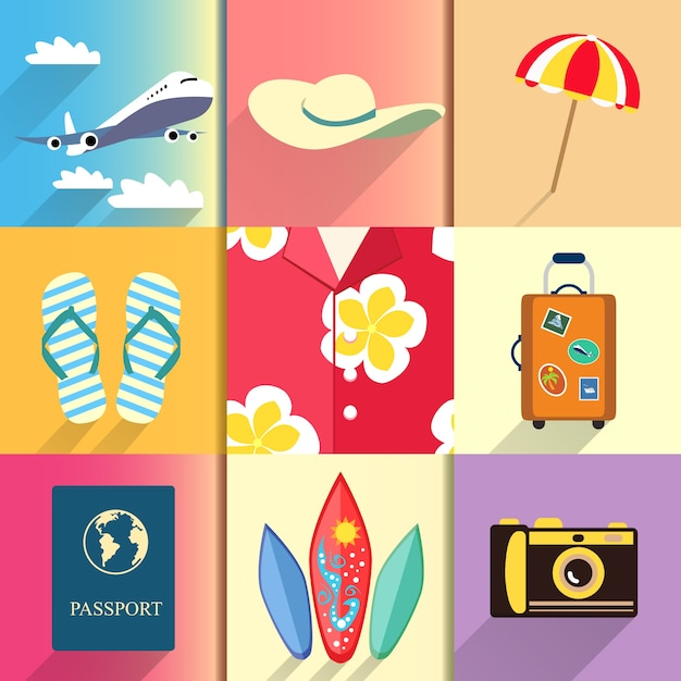 Aloha shirt. Travel and vacation icons set with\ plane passport and suitcase shoes vector illustration