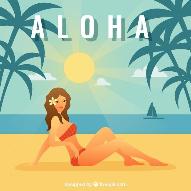 Aloha sfondo di spiaggia soleggiata Vettore gratuito