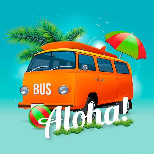 Aloha van background Free Vector