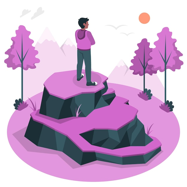 Alone concept illustration Free Vector