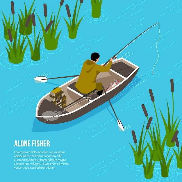 Alone fisher with spinning rod in boat on blue water  with reeds  isometric Free Vector