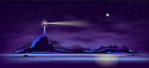 Alone lighthouse on rocky seashore cartoon vector Free Vector