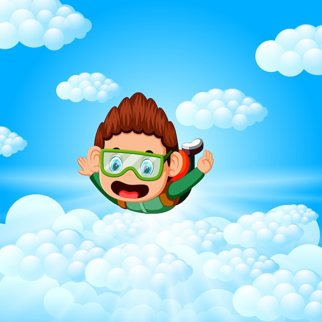 Alone skydiver is in the free fall Premium Vector