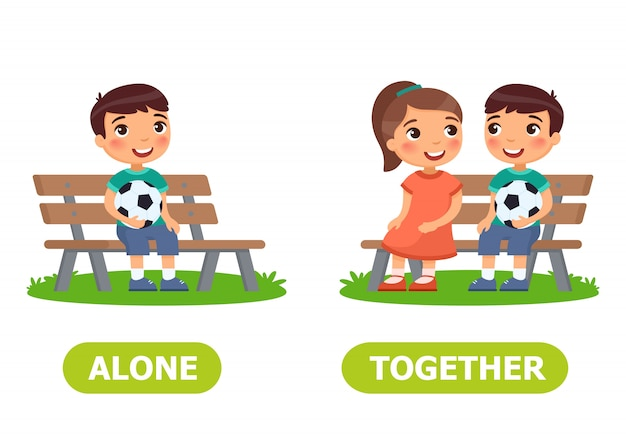 Alone and together illustration Premium Vector
