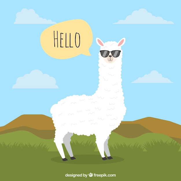 Alpaca background with speech bubble Free Vector