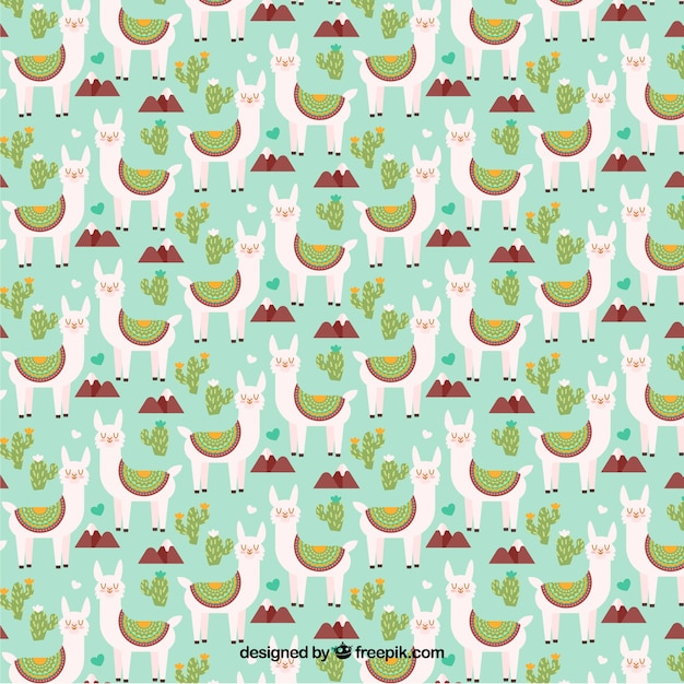 Alpaca character pattern with flat design Free Vector