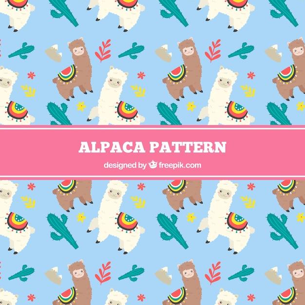 Alpaca pattern background Free Vector