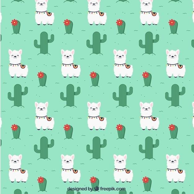 Alpaca pattern in flat style Free Vector