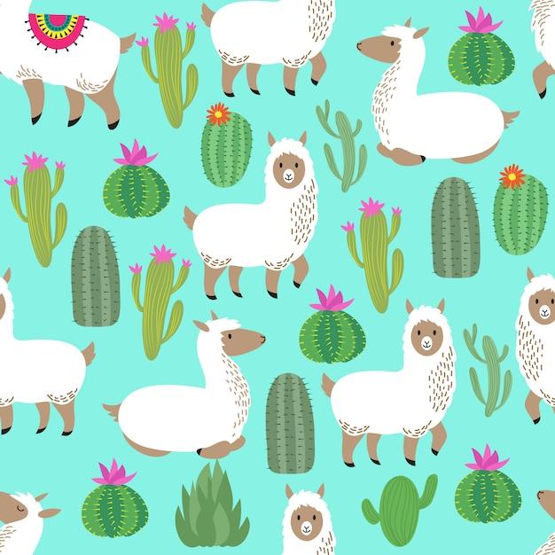 Alpaca seamless vector pattern. cute llama baby repetitive pattern Premium Vector