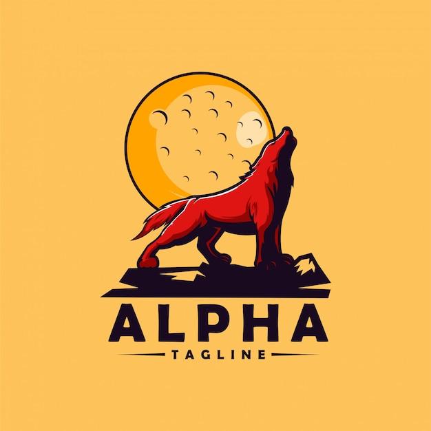 Alpha wolf logo Premium Vector