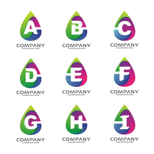 Alphabet in abstract shape logo set Premium Vector