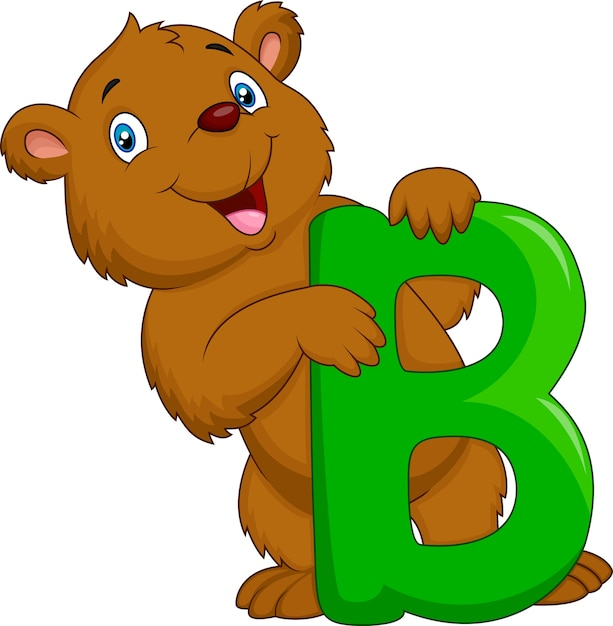Alphabet b with bear cartoon Premium Vector