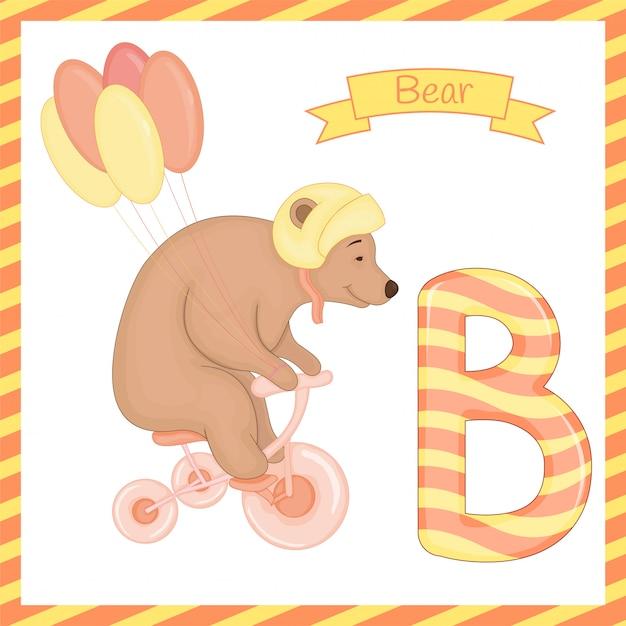 Alphabet b with bear cartoon Premium Vector