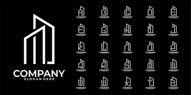 Алфавит здание буква от a до z логотип дизайн коллекции Premium векторы