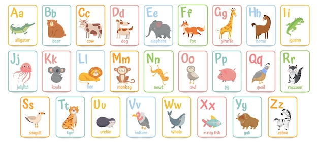 Alphabet cards for kids. educational preschool learning abc card with animal and letter cartoon ill
