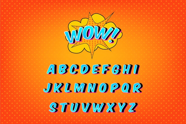 Alphabet collection in 3d comic Free Vector