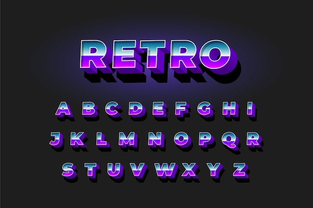 Alphabet collection in 3d retro style Free Vector