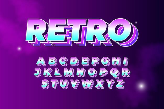 Alphabet collection in 3d retro theme Free Vector