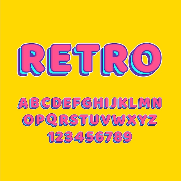Alphabet collection from a to z in 3d retro theme Free Vector