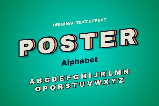3 dのレトロなコンセプトのアルファベットコレクション 無料ベクター