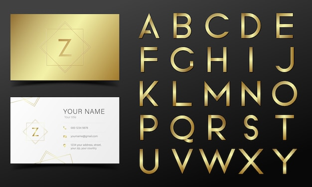黄金色のアルファベットコレクション 無料ベクター