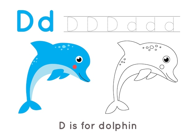 Premium Vector Alphabet Coloring Page For Kids Basic Writing Activity Tracing Abc Letters Worksheet Letter D With Cute Dolphin