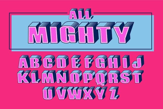 Alphabet concept in 3d comic concept Free Vector