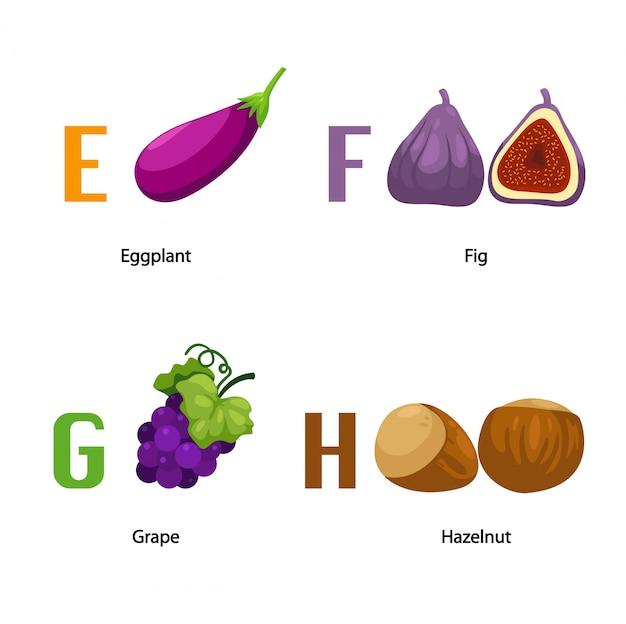 Alphabet e-h letter Premium Vector