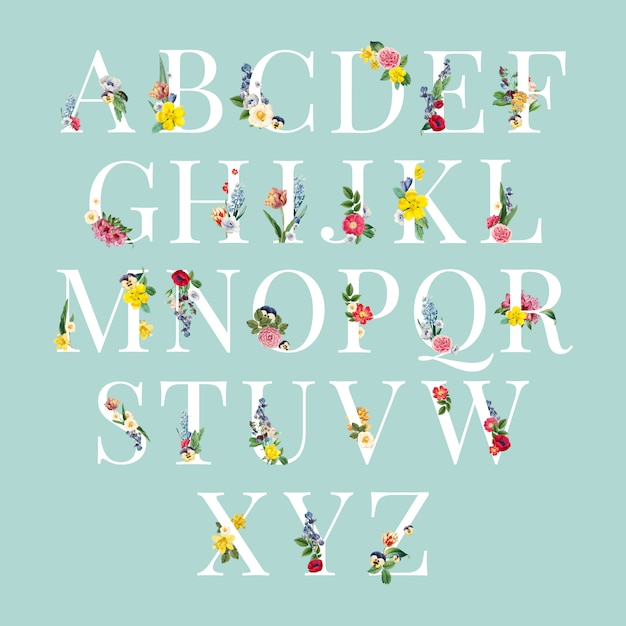 Alphabet floral background illustration Free Vector
