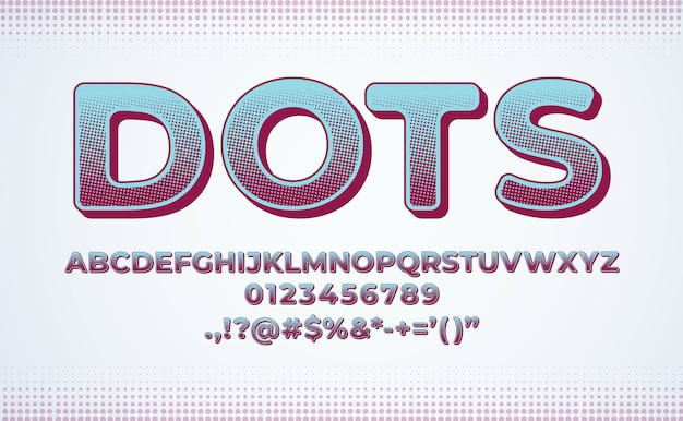 Alphabet font set. halftone dot effect gradient Premium Vector