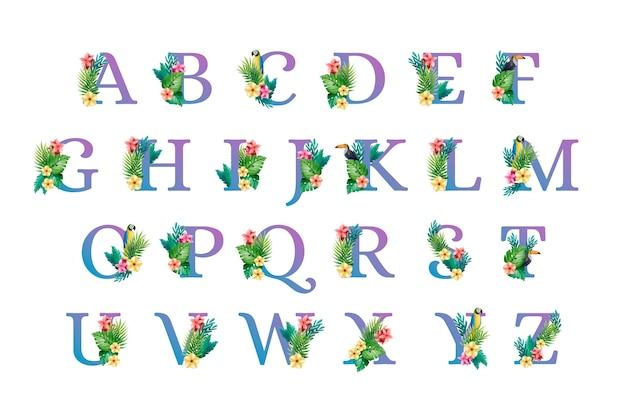 花とアルファベットのフォントの大文字 無料ベクター