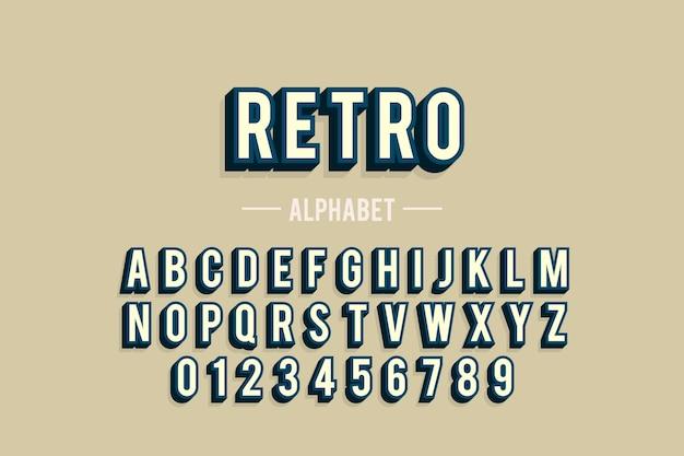 Алфавит от а до я в 3d ретро-дизайн Бесплатные векторы