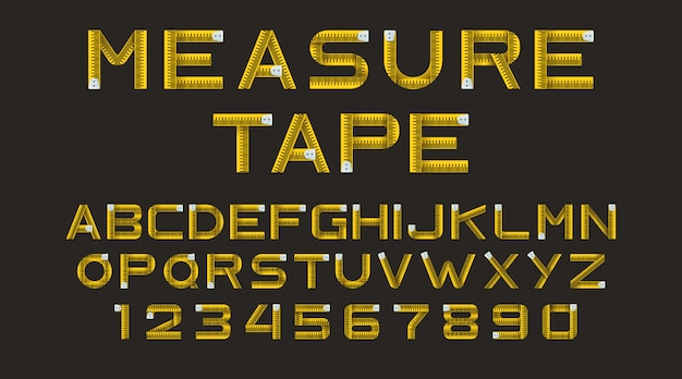 Alphabet from yellow measure tape Free Vector