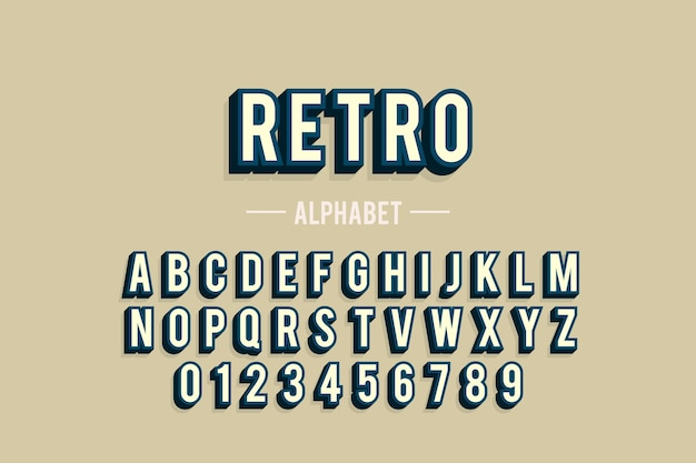 Alphabet from a to z in 3d retro design Free Vector