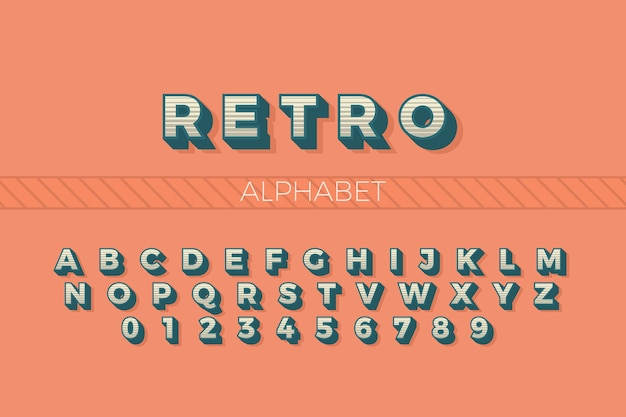 Alphabet from a to z in 3d retro style Free Vector